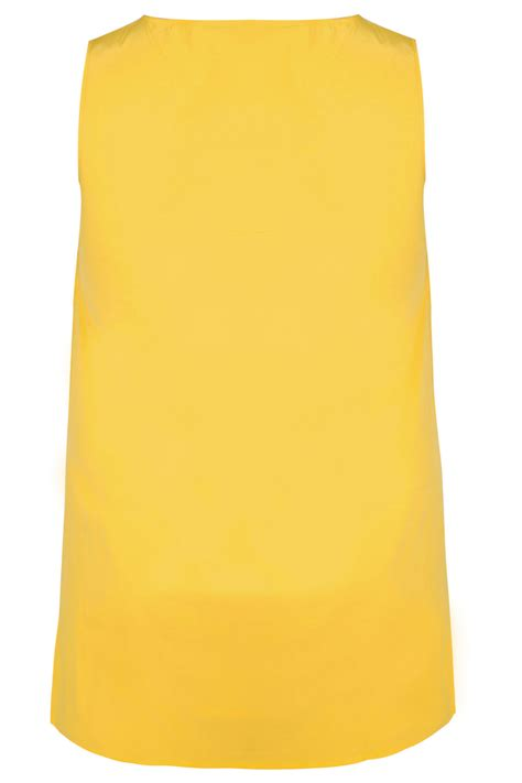 Idw081 Yellow Size 14 5 yellow sleeveless dipped hem top with zip pocket detail