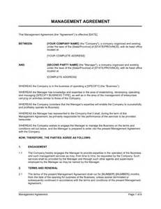 business management contract template management agreement template sle form biztree