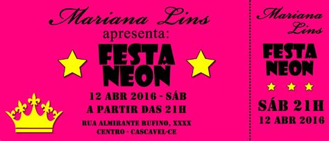Modelo De Convite Para Festa Convites De Festa Junina 48 Convites Personalizados Festa Neon Tipo Ingresso R