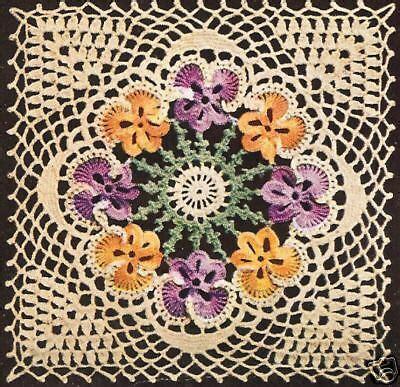 Vintage Crochet Pattern To Make Block Lace Flower vintage crochet pattern to make pansy motif bedspread