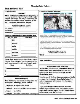 navajo code talkers worksheet student sheets reading unit 4 wk 3 selection