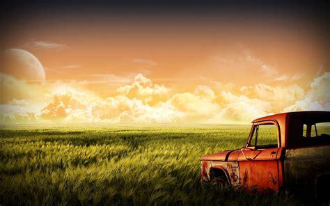 full hd video old old rusty car on the field wallpaper wide wallpaper