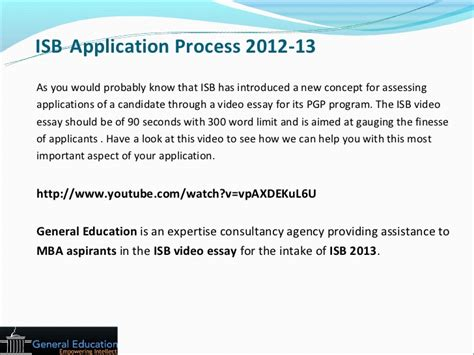 Isb Admission Process For Mba by General Education Isb Application Strategy