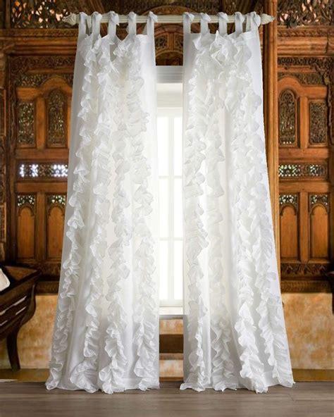 ruffled curtains white com white vertical ruffles faux silk tie top