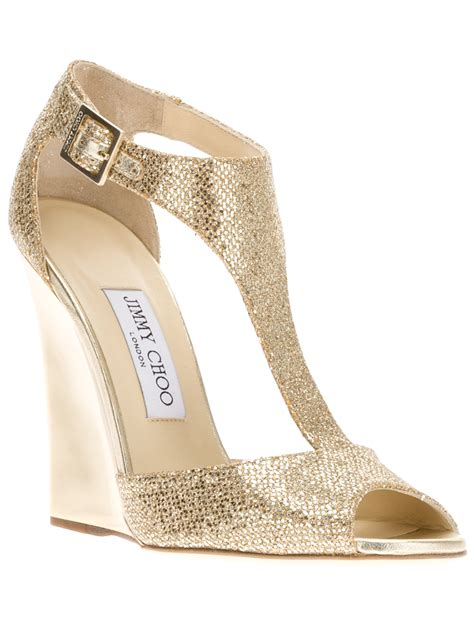 Wedges Gloss Gold lyst jimmy choo tweak wedge sandal in metallic