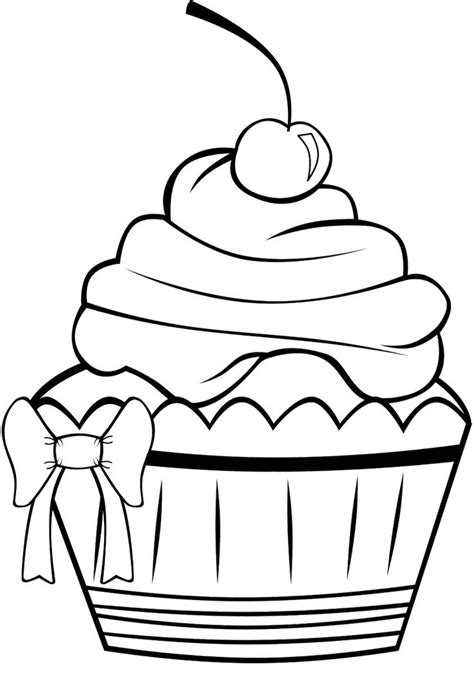 cupcake clipart coloring page   cliparts