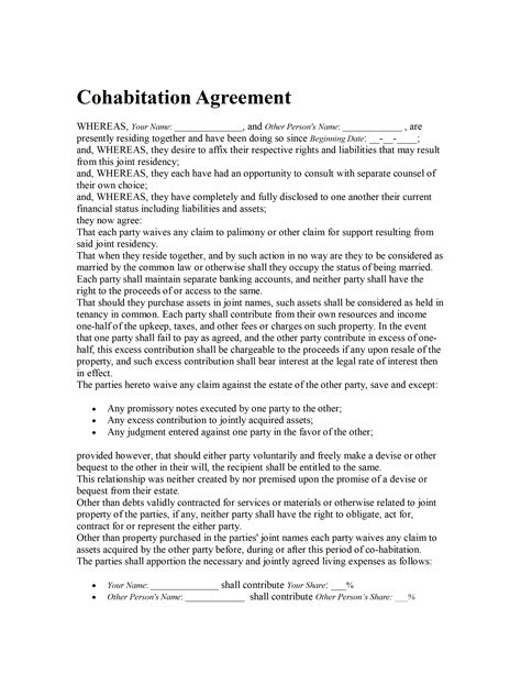 cohabitation contract template cohabitation agreement template