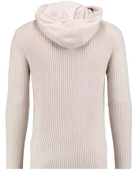 hooded cable knit sweater twisted soul mens ecru tech cable knit hooded jumper