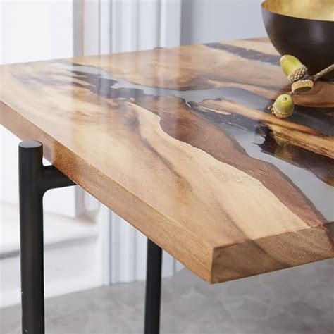 wood and resin table wood resin square side table elm