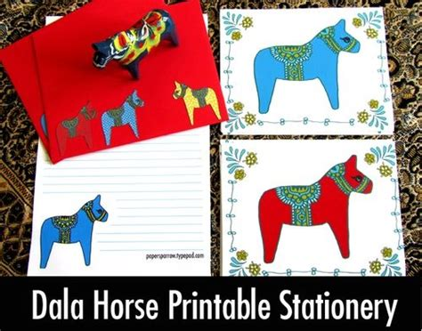 free printable horse stationery free dala horse stationary and cards my style