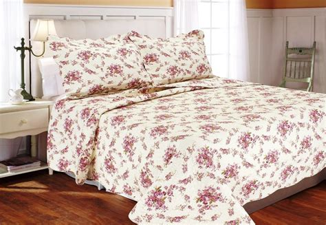 rose bedding red cottage rose full queen quilt set pink shabby garden