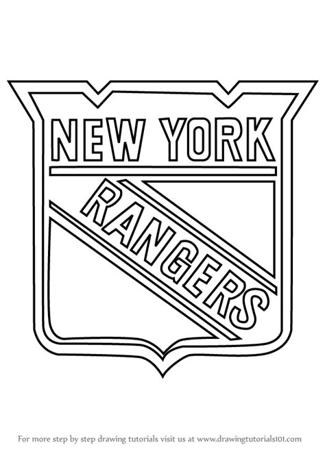 rangers hockey coloring pages learn how to draw new york rangers logo nhl step by step