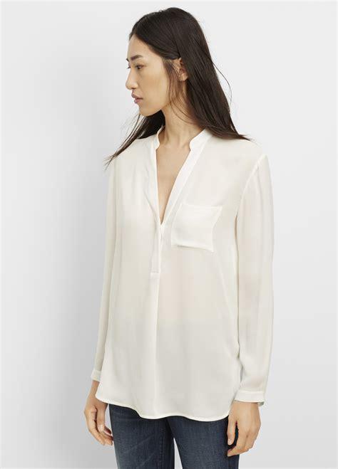Wringkle Tops White white sleeve silk blouse blue denim blouses