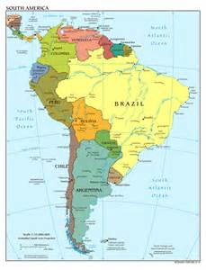 detailed political map of south america with capitals and