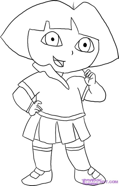 dora and buji coloring page step 5 how to draw dora the explorer