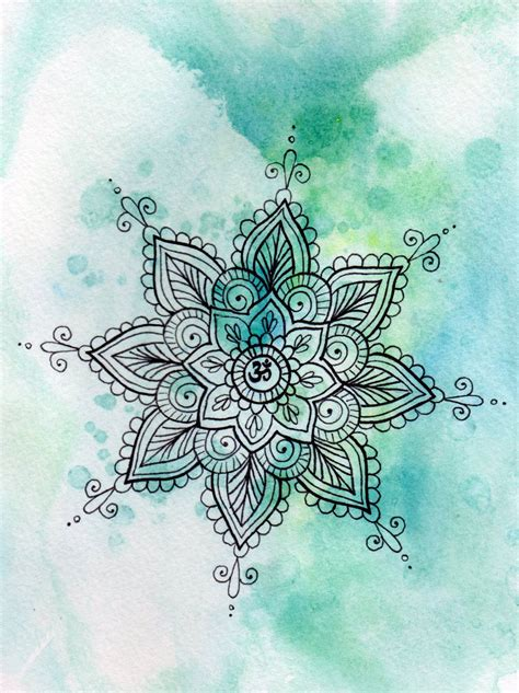 watercolor zentangle tattoo turquoise om mandala watercolor print om zentangle by