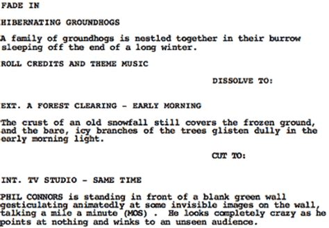 groundhog day script cope s g321 media research on script layouts