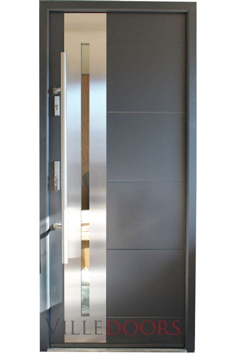 Quot New Yorker Quot Stainless Steel Modern Entry Door With Glass Stainless Steel Exterior Door