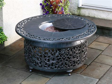 Patio Firepit Table Alfresco Home Bellagio Cast Aluminum 48 Propane Gas Pit Table 55 1306