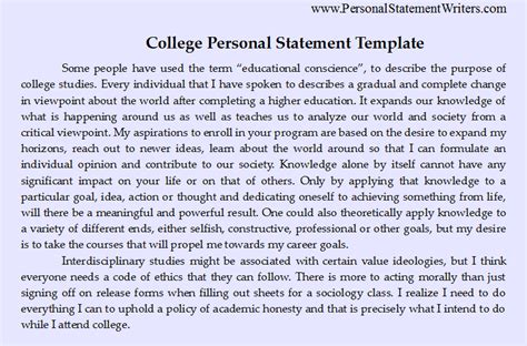 Personal Statement For College Template personal statement sle bag the web