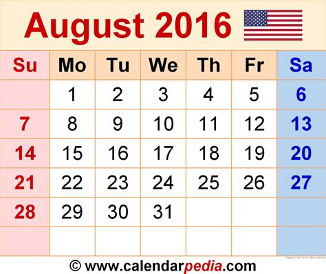 August Kalender 2016 August 2016 Calendars For Word Excel Pdf