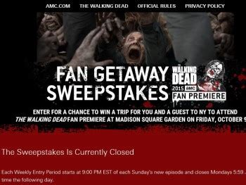Enter Walking Dead Sweepstakes - amc s the walking dead fan getaway sweepstakes select days of the week sweepstakes