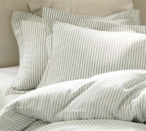 vintage ticking stripe duvet cover sham blue