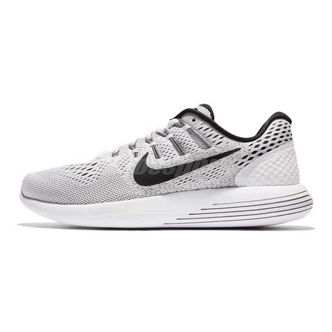 nike lunarglide 8 viii white grey black mens running shoes