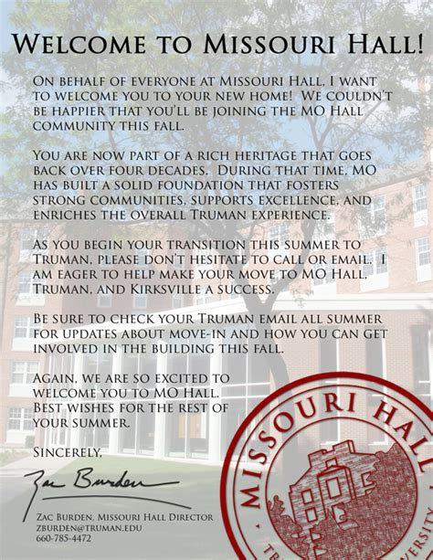 School Admission Welcome Letter Welcome Letter Truman State