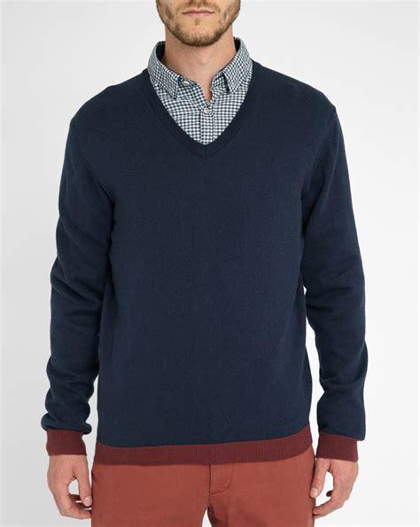 Combi Maroon Navy Sweater Terlaris harris wilson navy v neck wool cotton burgundy contrasting trim sweater in blue for lyst