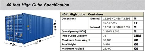 40 feet in meters 40 length feet and dry container type 40ft high cube