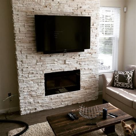 white stacked stone fireplace 3845