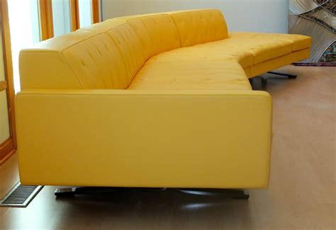Yellow Leather Sofa Quot Kennedee Quot Yellow Leather Sofa By Jean Massaud For Poltrona Frau At 1stdibs