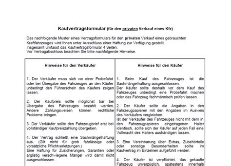 Kaufvertrag Auto Italienisch Deutsch by Kfz Kaufvertragsformular Download Chip