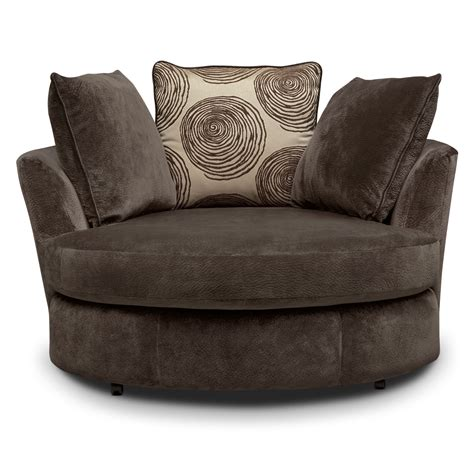 cordelle swivel chair chocolate  city furniture  mattresses
