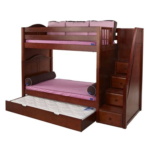 bed stairs whopper high bunk bed in chestnut with stairs by maxtrix