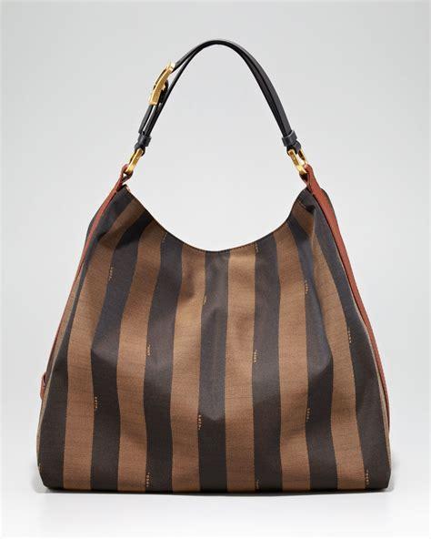 Fendi Hobo lyst fendi pequin tonal stripe hobo in brown