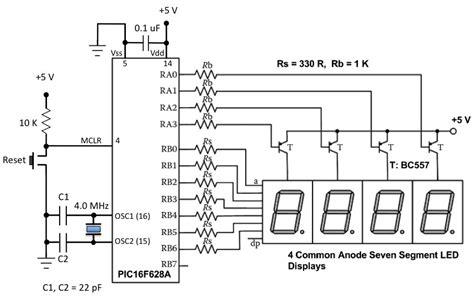 led multiplexing resistor 7segmentdisplay how to determine resistor value calculation for common anode 7 segment display