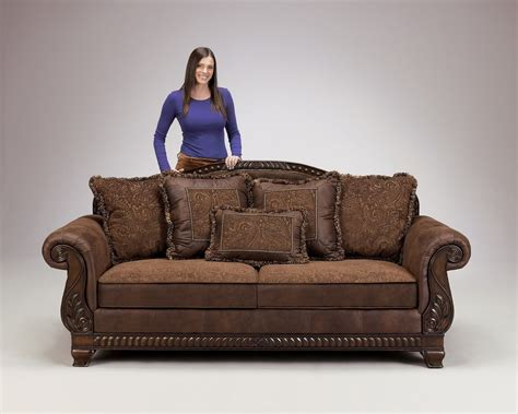 leather sofa with wooden trim truffle traditional sofa set world wood trim