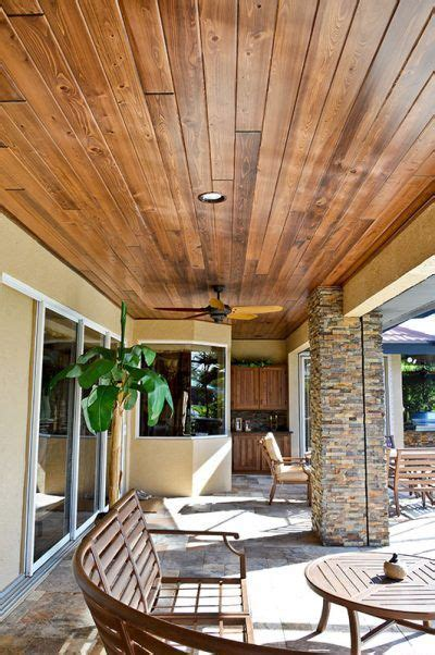 outdoor living cypress wood ceiling  stone wooden