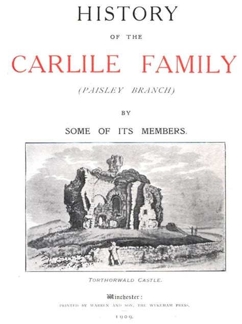 a history and genealogy of the family of baillie of dunain dochfour and lamington with a sketch of the family of mcintosh bulloch and other families classic reprint books the carlisle family tree taken from the history of the