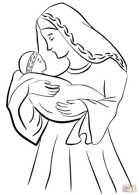 coloring pages baby jesus printable mother mary with baby jesus coloring page free printable