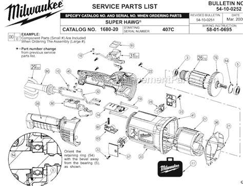 Milwaukee 1680 20 Parts List And Diagram 407c