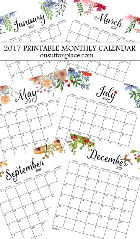 2016 printable monthly calendar on sutton place 2017 free printable monthly calendar includes free year