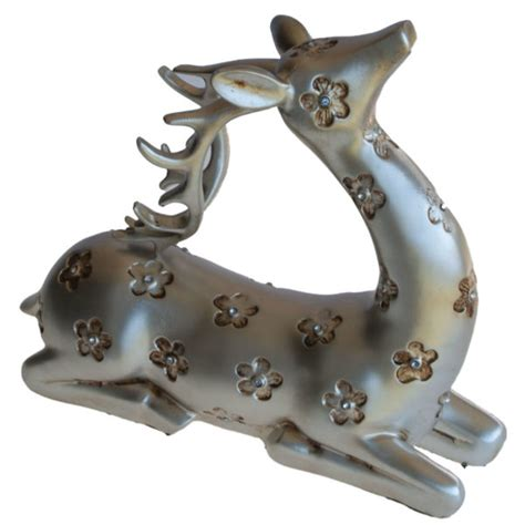 set of 2 silver reindeer christmas holiday table top