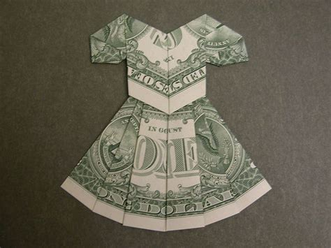Origami Dress Money - dollar bill dress origami kort och heminredning