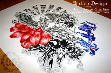 dark angel tattoo designs skeleton design design graphics