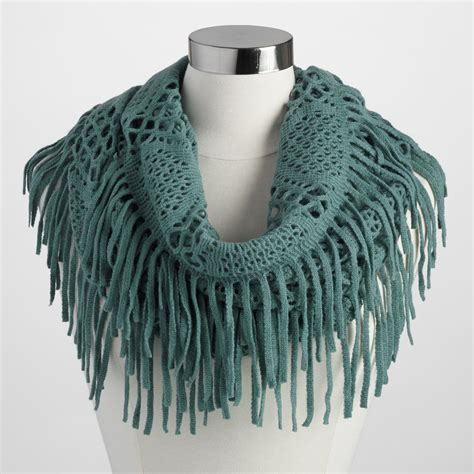 green fringe infinity scarf world market
