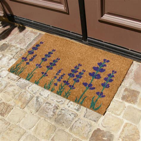 purple english lavender  flower doormat