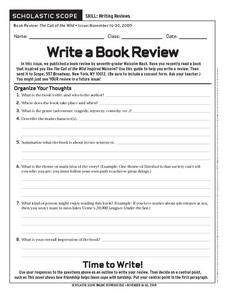Lesson Plans For Writing Book Reviews by Scholastic Scope Write A Book Review 6th 9th Grade Worksheet Lesson Planet